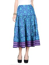 Blue Printed Cotton Skirt With Gathers - By