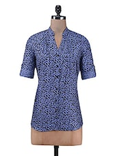 Blue Printed Pin Tucked Cotton Tunic - By