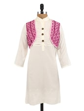 Cream And Pink Cotton Embroidered Kurta - By