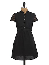 Black Cotton Embroidered Kurti - By