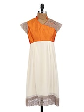 White Georgette Kurti With Lace Work - By