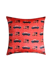 Red Printed Poly Silk Cushion Cover - By