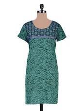 Green Cotton Printed Kurti - By