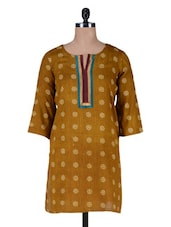 Mustard Cotton Printed Kurta - By