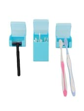 Blue Plastic 3-in-1 Bathroom Accessory Kit - Cool Trends
