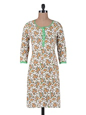 Cream Printed Cotton Kurta With Buttons Closure - By