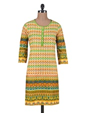 Multicolour Printed Cotton Kurta With Buttons Closure - By