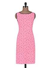 Pink Printed Cotton Poly Net Kurta - By