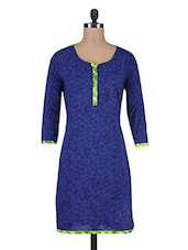 Blue Printed Cotton Kurti With Button Closure - By