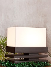 White And Brown Slatted Table Lamp - By