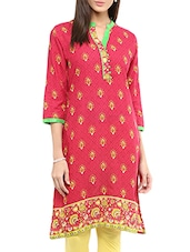 Pink Cotton Straight Kurta - By