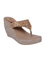 gold fabric wedge -  online shopping for wedges