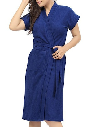 blue cotton bathrobe -  online shopping for bath robes