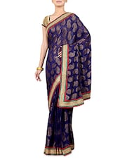 Navy Blue Satin Chiffon Saree - By