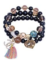 Beaded Of Love Metallic Charm Bracelet - By