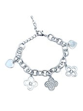 Silver Flower And Hearts Metallic Charm Bracelet - By