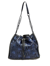 Blue Animal Printed Leatherette Shoulder Bag - By