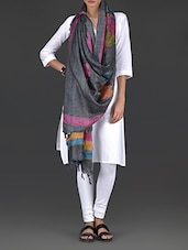 Charcoal Grey Tussar Silk Dupatta - By