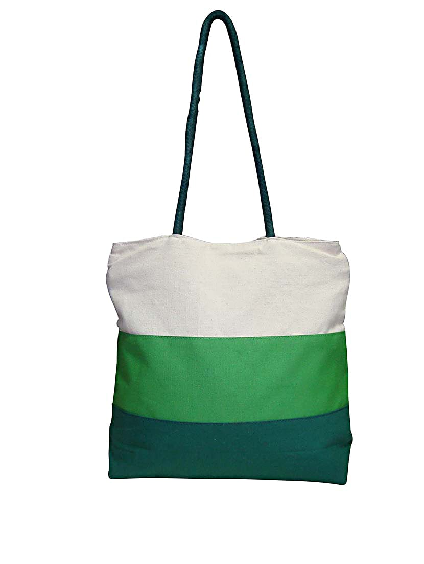 Color Block Printed Canvas Bag - By