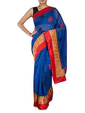 Royal Blue Kora Cotton Art Silk Saree - By