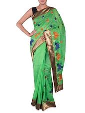Embroidered Green Cotton Art Silk Saree - Prabha Creations