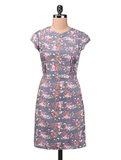 Grey Polycrepe Printed Dress - By