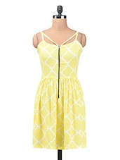 Yellow And White Polycrepe Printed Dress - By
