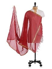 Maroon Plain Silk Dupatta - By