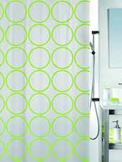 Green Printed 1 Piece Shower Curtain - By