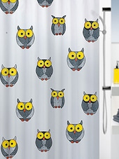 Grey Printed 1 Piece Shower Curtain - By
