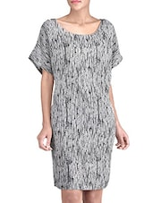 Black And Grey Moss Crepe Printed Dress - By