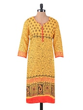 Yellow Printed Jacquard Cotton Kurta - By