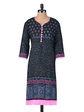 Black Printed Jacquard Cotton Kurta - By