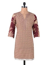Brown And Beige Printed Cotton Kurta - By