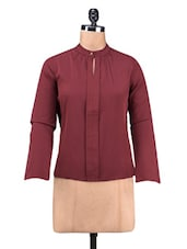Solid Maroon Polycrepe Top - By