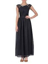 Black Polygeorgette Maxi Dress - By