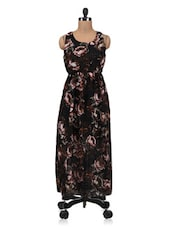 Black Polygeorgette Printed Maxi Dress - By