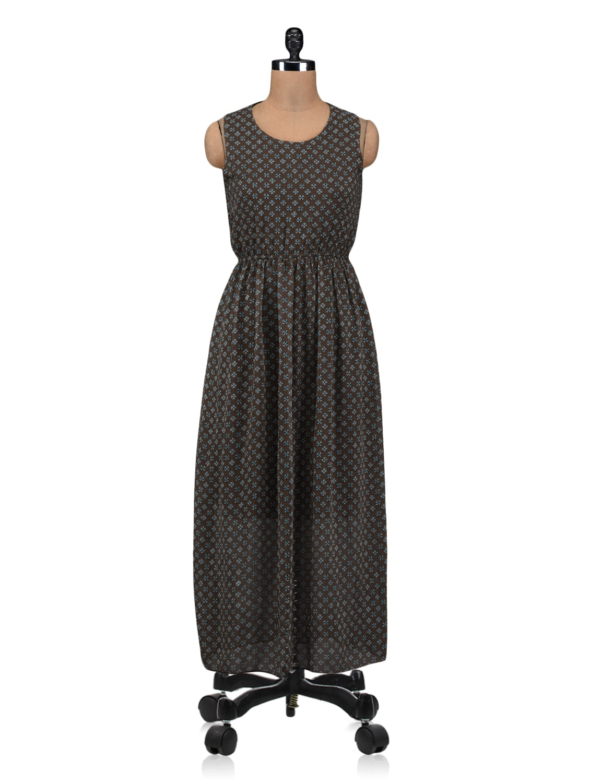 Dark Olive Polygeorgette Printed Maxi Dress - By