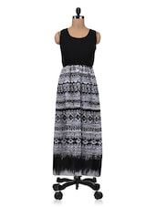 White And Black Polygeorgette Printed Maxi Dress - By