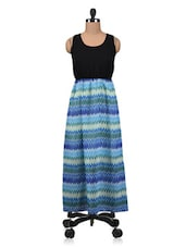 Blue And Black Polygeorgette Printed Maxi Dress - By
