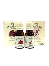 OrganoVeda Rose Combo: Rose & Geranium Essential Oils (15 Ml Each) - By