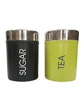 Black And Green Stainless Steel Containers Set - By