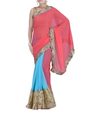 Peach And Blue Embroidered Saree - By