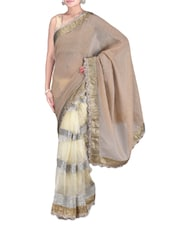 Brown And Cream Embroidered Saree - By