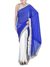 Royal Blue And White Embroidered Saree - By