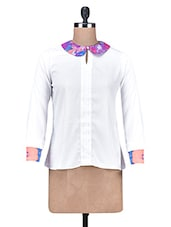 White Polycrepe Printed Collared Top - By