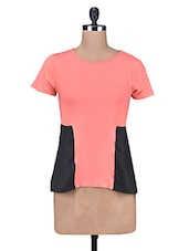 Coral And Black Cotton Polycrepe Top - By