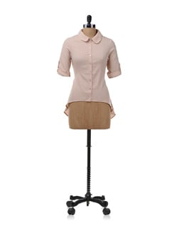 Tan Pink Asymmetric Shirt With Sequins - NUN