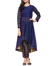 Blue Chanderi Highlow Kurta - By