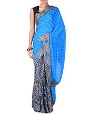 Blue And Grey Embroidered Saree - By